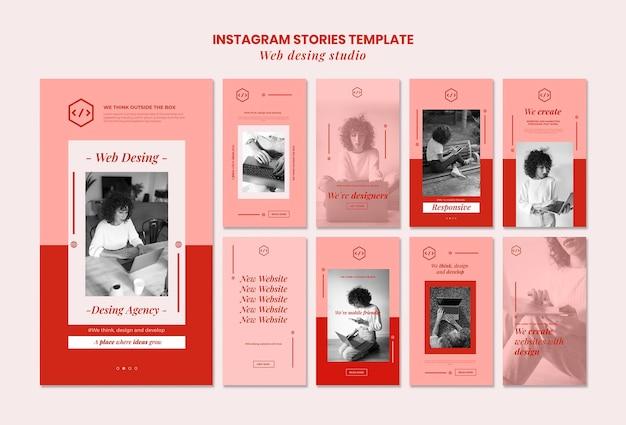 Web studio design instagram geschichten vorlage Premium PSD