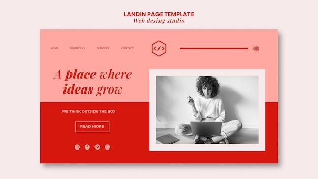 Web studio design landing page vorlage Kostenlosen PSD
