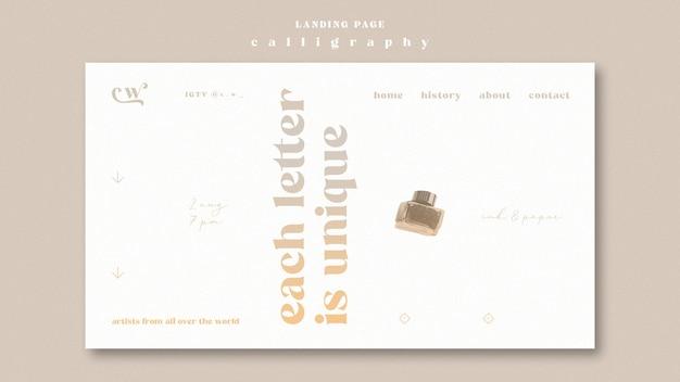 Web-vorlage für kalligraphie-landingpage Kostenlosen PSD