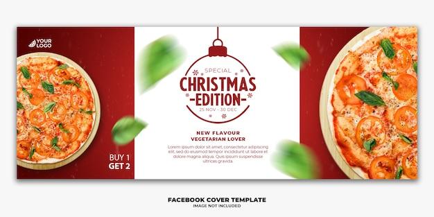 Weihnachten facebook cover banner vorlage bearbeitbar für restaurant fastfood menü pizza Premium PSD