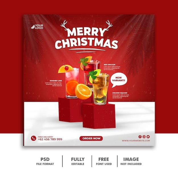 Weihnachten social media post square banner vorlage Premium PSD