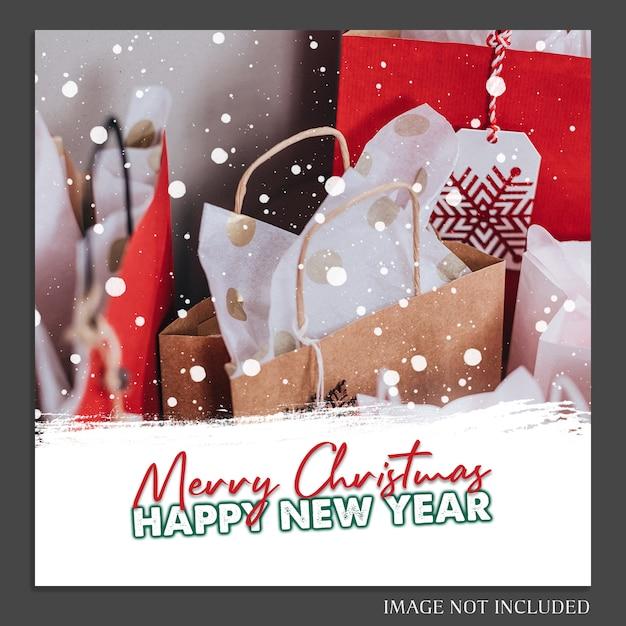 Weihnachten und ein glückliches neues jahr 2019 foto mockup und instagram post template für social medi Premium PSD