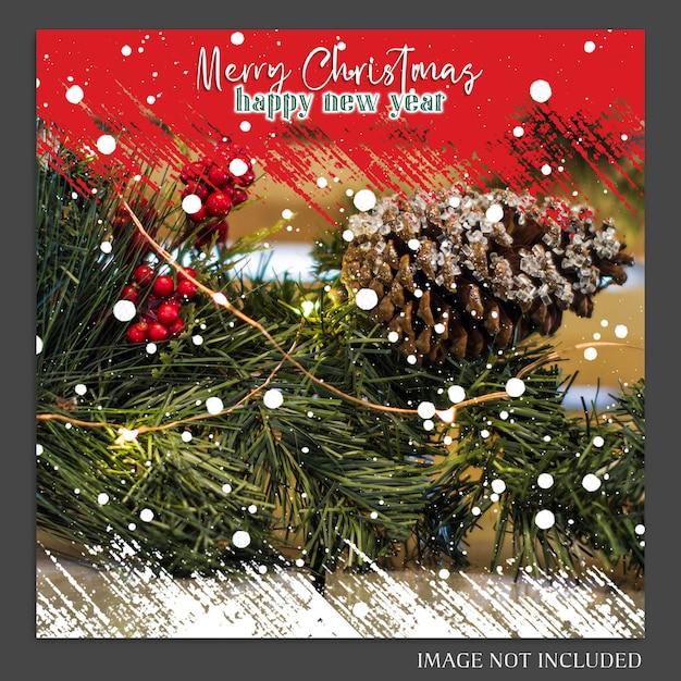 Weihnachten und ein glückliches neues jahr 2019 foto mockup und instagram post template Premium PSD