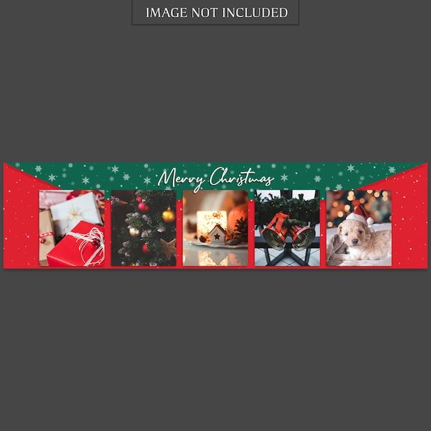 Weihnachten und ein glückliches neues jahr banner vorlage und foto mockup Premium PSD
