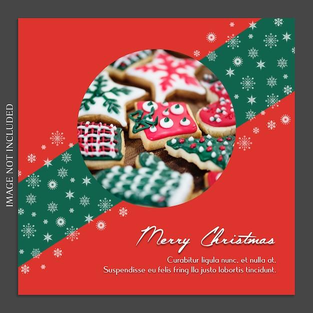 Weihnachten und ein glückliches neues jahr foto mockup und instagram post template Premium PSD