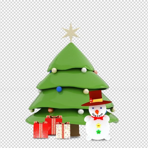 Weihnachtsbaum, geschenke und schneemann in 3d lokalisiert gerendert Premium PSD