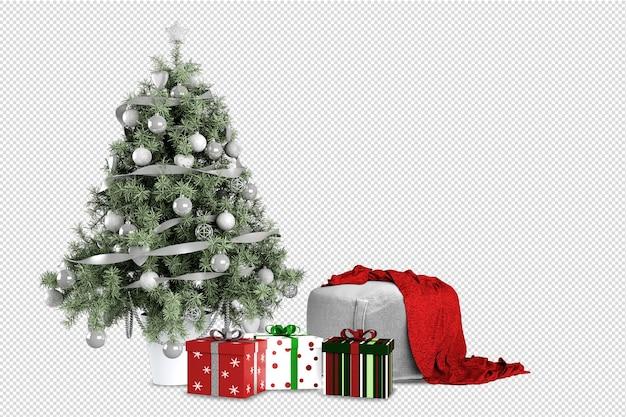 Weihnachtsbaum, geschenke und sessel in 3d gerendert Premium PSD