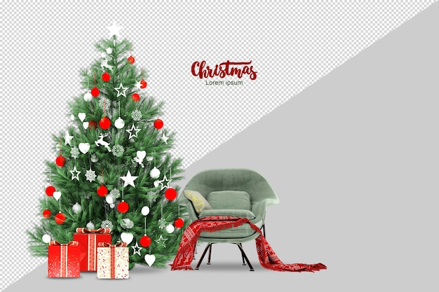 Weihnachtsbaum, geschenke und sessel in 3d lokalisiert gerendert Premium PSD