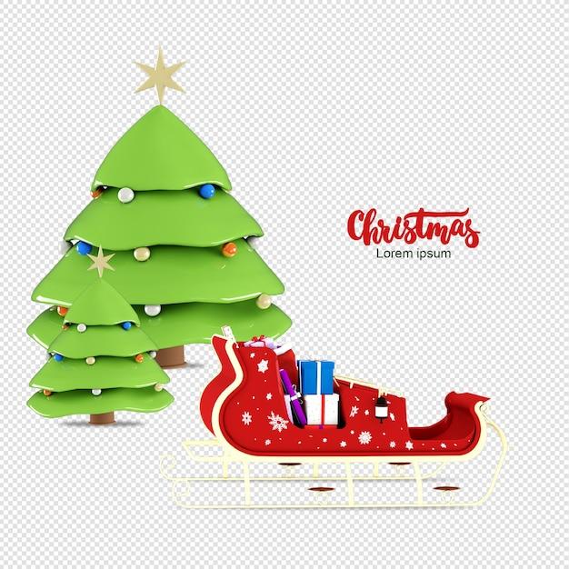 Weihnachtsbaum in der rikscha im 3d-rendering isoliert Premium PSD