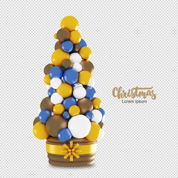 Weihnachtsbaum mit bunten kugeln in der 3d-darstellung lokalisiert Premium PSD