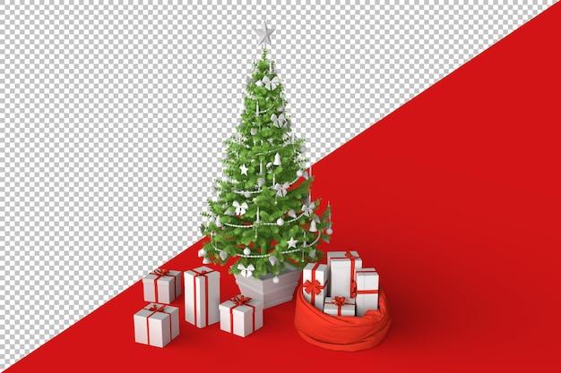 Weihnachtsbaum mit geschenken geschenkboxen Premium PSD