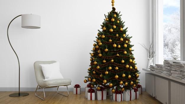 Weihnachtsbaum mit goldenen kugeln baum drinnen Kostenlosen PSD