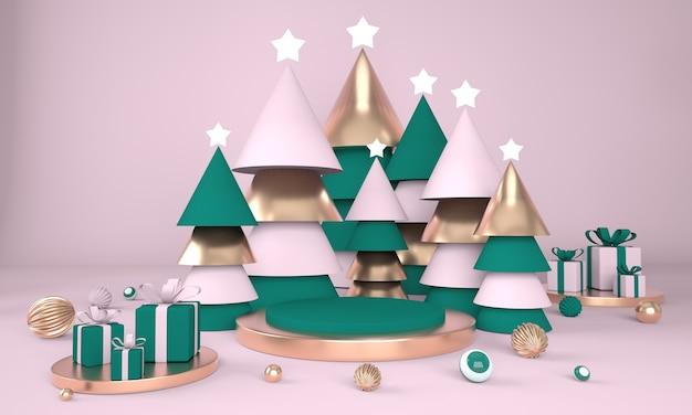 Weihnachtsbaum und bühne für produktanzeige im 3d-rendering Premium PSD