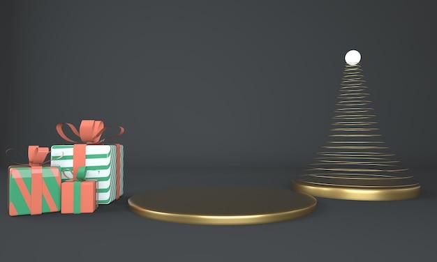 Weihnachtsbaum- und bühnen-3d-rendering Premium PSD