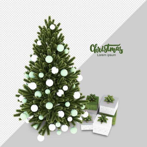 Weihnachtsbaum und geschenke 3d lokalisiert gerendert Premium PSD
