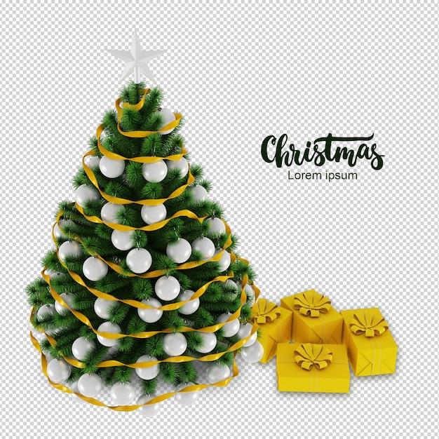 Weihnachtsbaum und geschenke in 3d gerendert Premium PSD