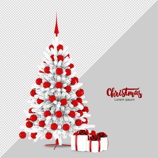 Weihnachtsbaum und geschenke in 3d rendern Premium PSD