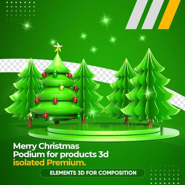 Weihnachtsbaum und podium für produkte 3d-rendering Premium PSD