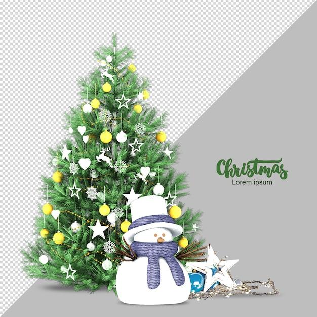 Weihnachtsbaum und schneemann in 3d lokalisiert gerendert Premium PSD