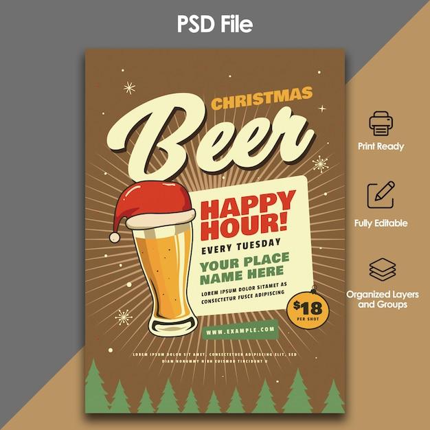 Weihnachtsbier party flyer vorlage Premium PSD
