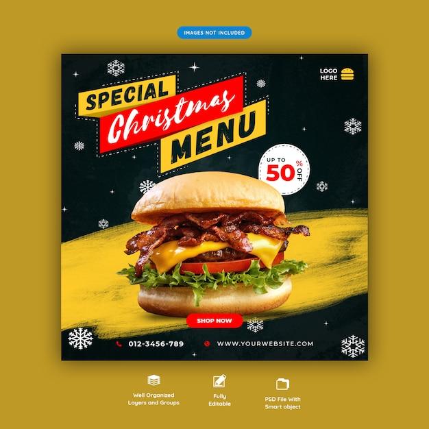 Weihnachtsessen banner social media instagram beitragsvorlage premium psd Premium PSD