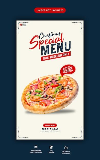 Weihnachtsessen menü und köstliche pizza instagram und facebook geschichte vorlage Premium PSD