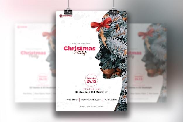 Weihnachtsfeier flyer vorlage Premium PSD