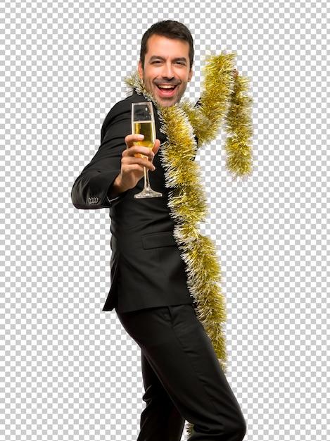 Weihnachtsfeiertag ereignis. mann mit champagner feiert neues jahr 2019 Premium PSD