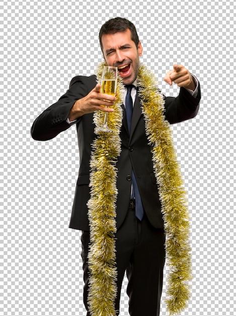Weihnachtsfeiertag ereignis. mann mit dem champagner, der neues jahr 2019 feiert Premium PSD