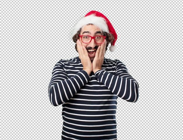 Weihnachtsferien des jungen mannes. emotionen und konzepte ausdrücken Premium PSD