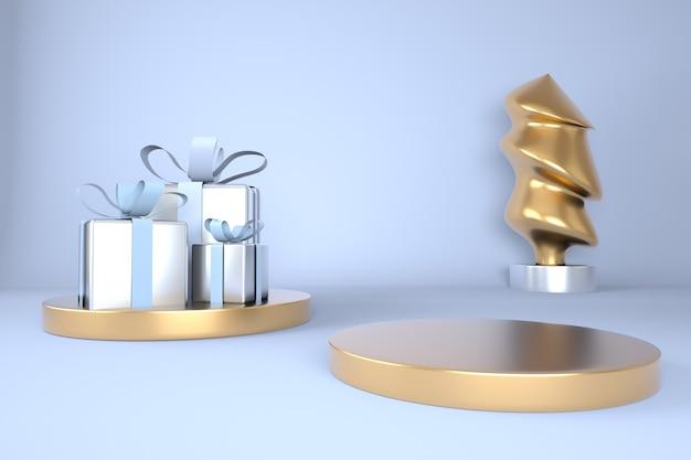 Weihnachtshintergrund mit weihnachtsbaum und bühne für produktanzeige im 3d-rendering Premium PSD