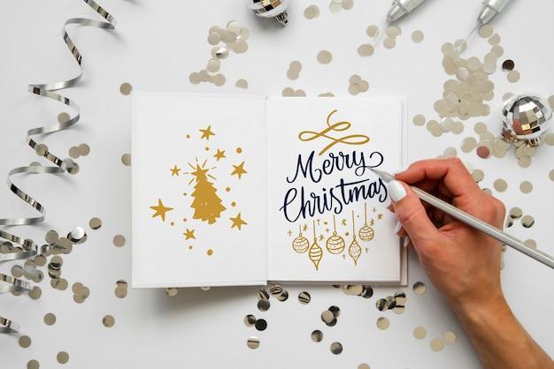 Weihnachtskarte mit frohen weihnachtsbotschaft Kostenlosen PSD