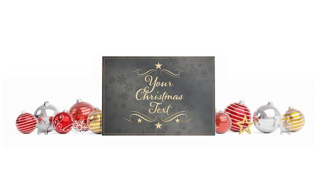 Weihnachtskarte mit weihnachtskugeln mockup Premium PSD