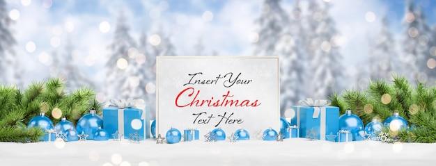 Weihnachtskartenmodell mit fallendem schnee und flitter Premium PSD