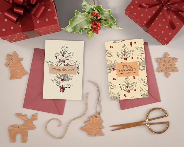 Weihnachtskartenvorbereitungen zu hause Kostenlosen PSD