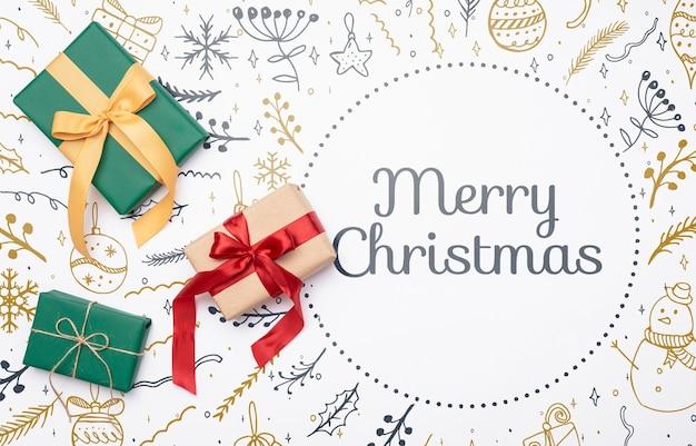Weihnachtskonzept mit bunten geschenken Kostenlosen PSD