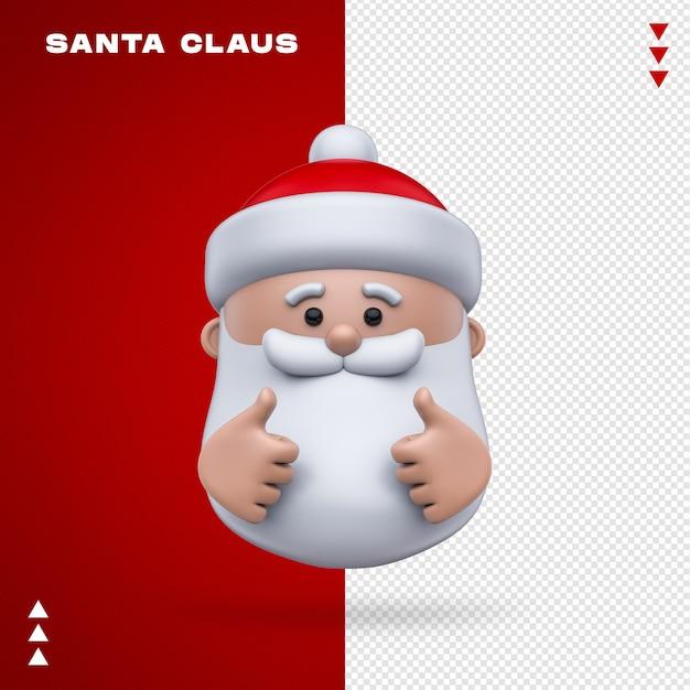 Weihnachtsmann emoji im 3d-rendering Premium PSD