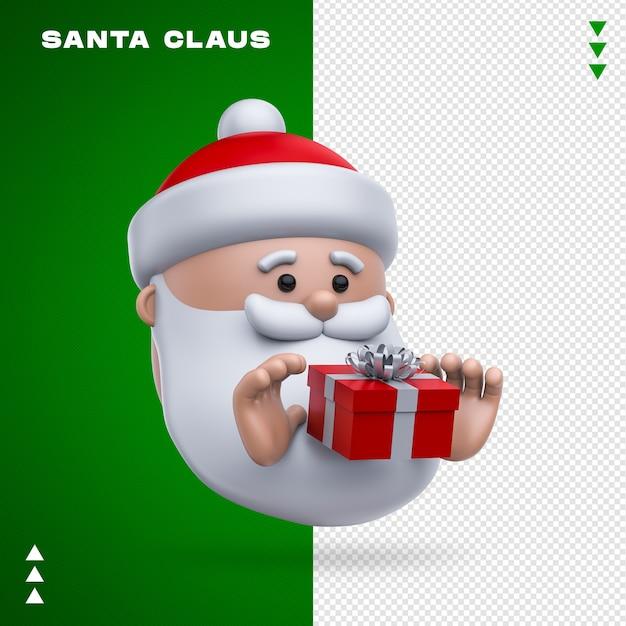 Weihnachtsmann geschenk 3d rendering isoliert Premium PSD