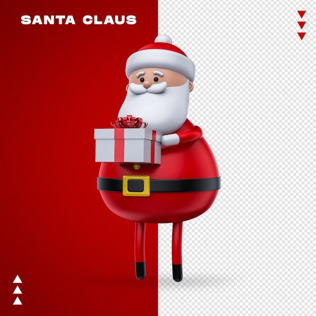 Weihnachtsmann-geschenk im 3d-rendering Premium PSD
