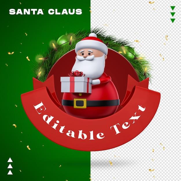 Weihnachtsmann-girlande im 3d-rendering Premium PSD