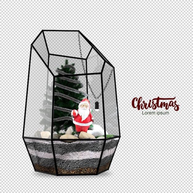 Weihnachtsmann und der weihnachtsbaum in der glasbox Premium PSD