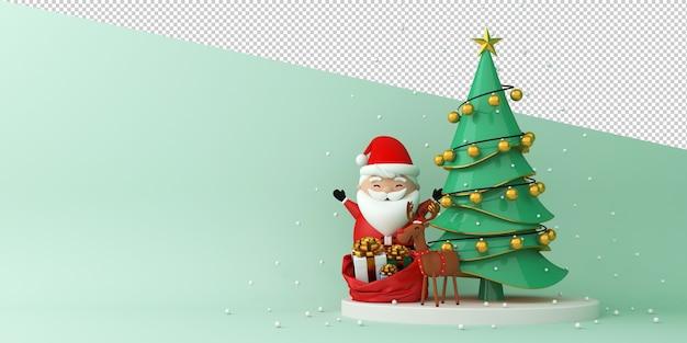 Weihnachtsmann und rentier neben weihnachtsbaum Premium PSD
