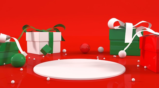 Weihnachtsmotiv podium illustration Premium PSD
