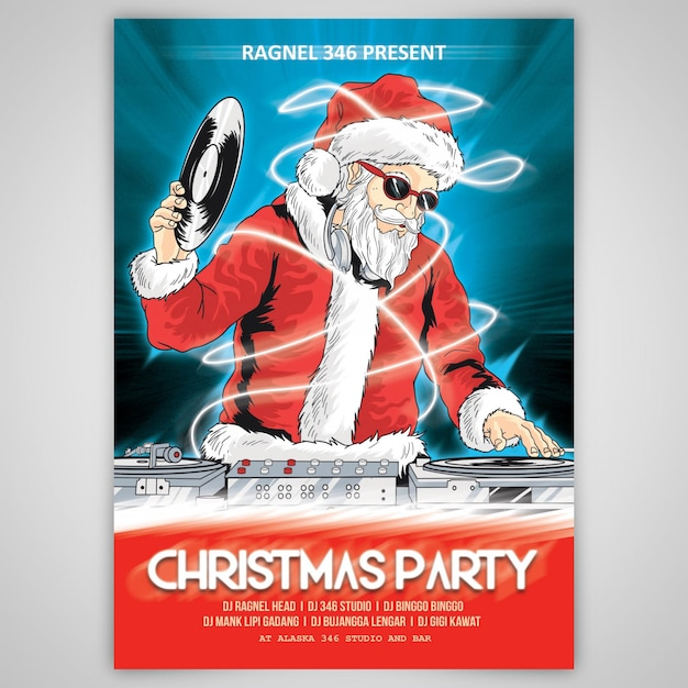 Weihnachtsparty santa claus psd-schablone cartoon Premium PSD