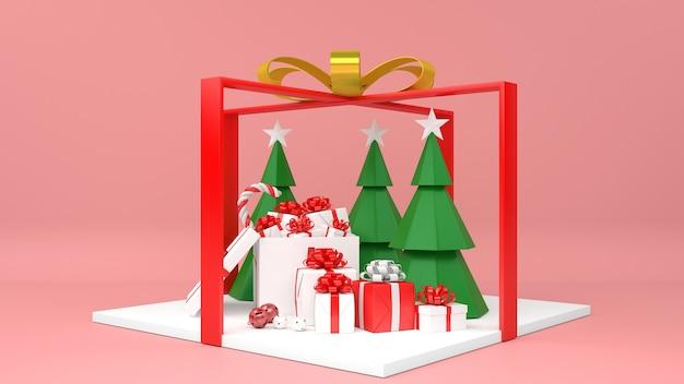 Weihnachtspodest mit schneemannsockel und geschenken Premium PSD