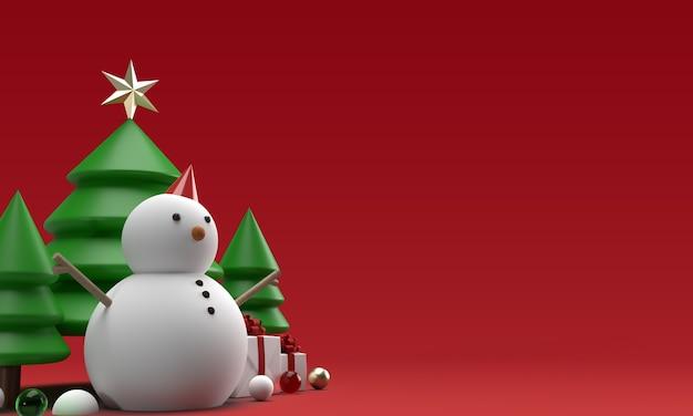 Weihnachtsschneemannspielzeug mit bäumen im 3d-rendering Premium PSD