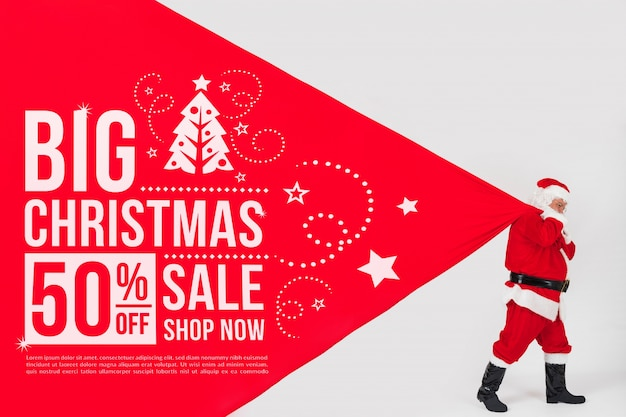 Weihnachtsverkaufsmodell mit sankt Kostenlosen PSD