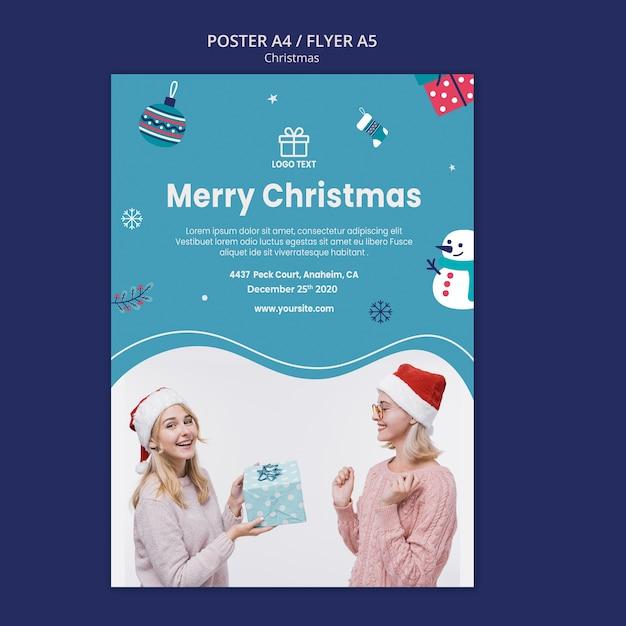 Weihnachtsverkaufsplakatschablone Kostenlosen PSD