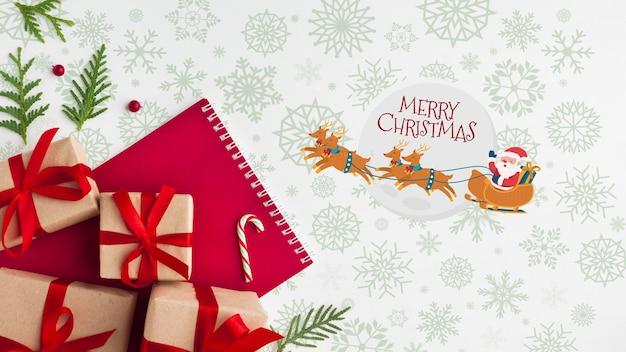 Weihnachtszusammensetzung mit geschenkboxen Kostenlosen PSD