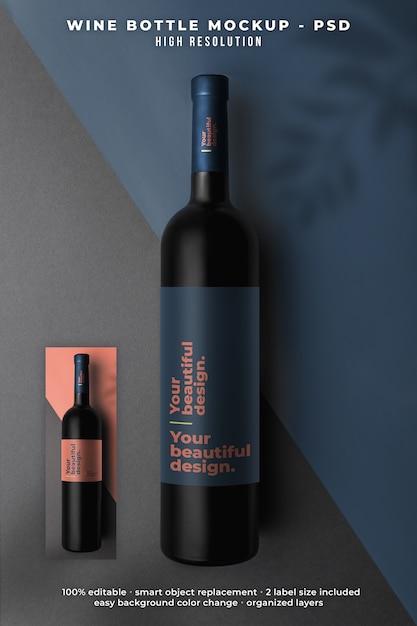 Weinflaschenmodell draufsicht Premium PSD